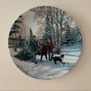 Bringing Home the tree by Persis Weirs Art plate